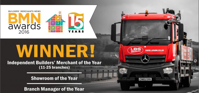 LBS scores a hat-trick at the Builders Merchants Awards For Excellence